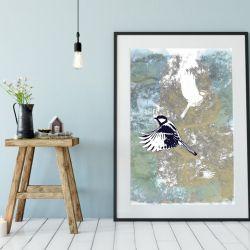 Ptaki I, plakat sygnowany, B2 70x50 cm