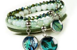 GREEN LEAVES komplet bransoletek z kamieniami