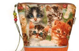 kosmetyczka - małe kociaki - pomarańczowa
