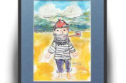 Akwarela ręcznie malowana, wilk morski szkic