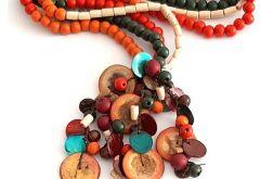 4435 naszyjnik kolia muszla drewno kokos