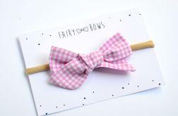 FairyBows opaska kokardka wiązana różowa krat