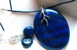 Lapis lazuli z pirytem, wisior i kolczyki