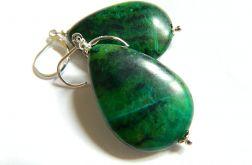 Chryzokola zielona, duże kolczyki w srebrze