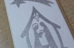 Kartka z brokatową stajenką i gwiazdą