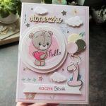 Kartka różowa z misiem na urodzinki UDP 009 - Kartka różowa z misiem  3