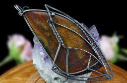 Srebrny wisior z heliotropem wire wrapped