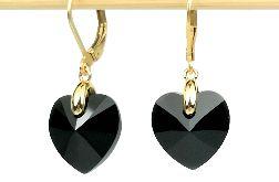 Czarne serducha- kryształy Swarovskiego