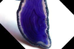 Fioletowy agat w ramce, duży plaster, wisior
