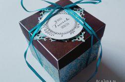 Pudełko exploding box urodziny turkus-brąz