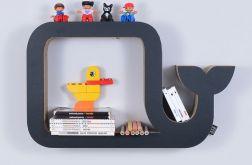 Półka na książki WIELORYB | czarny