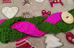 Zielono-różowa opaska na uszy