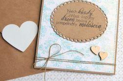 kartka ślubna :: VINTAGE :: kremowo-lazurowa