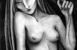 Siedząca II - oryginalny rysunek 0409