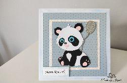Kartka na Roczek misiu panda z balonikiem