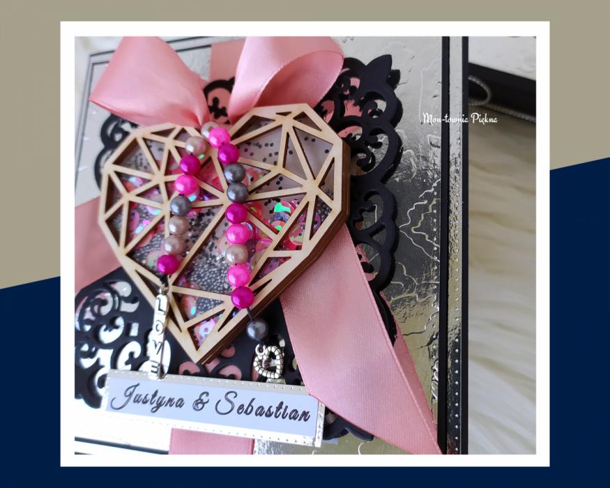 Kartka z okazji ślubu Glamour - kartka shaker 1
