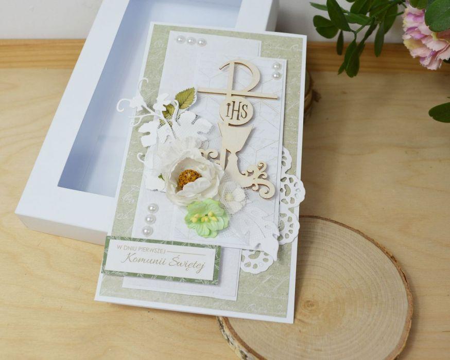 kartka komunijna - zieleń boho -
