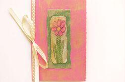 Kartka z kokardką i z kwiatkiem malow. nr34