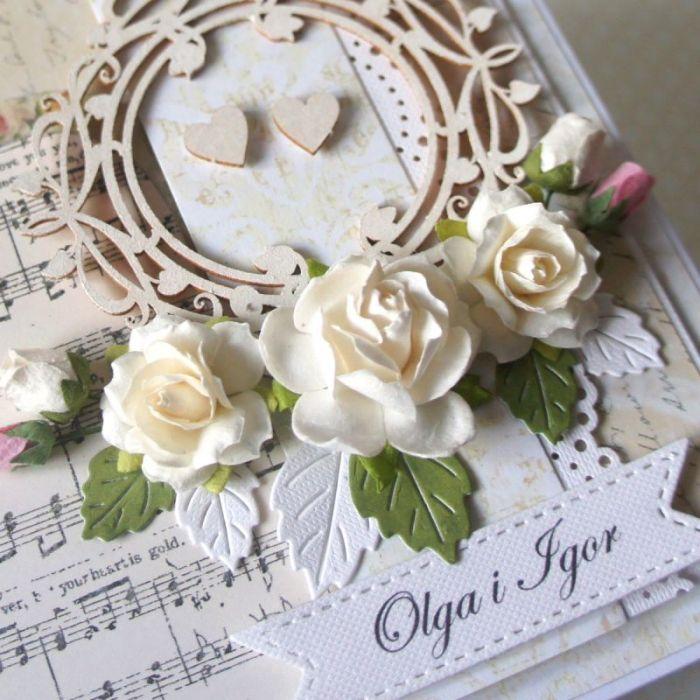 Kartka ślubna z motywem nut v.3