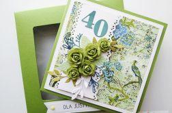 Kartka URODZINOWA zielone róże