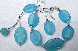 Jadeit błękitny i srebro. Zestaw biżuterii 3szt