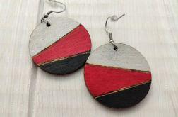 Kolczyki drewniane czerwień i czerń