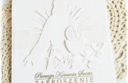 Zaproszenie komunijne biel i złoto 2