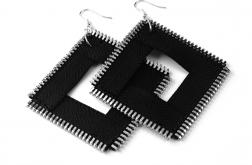 Duże kolczyki czarne kwadraty