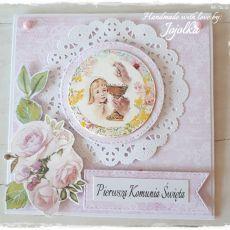 Kartka Komunijna dla dziewczynki-różowa 2