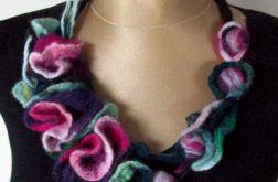 Naszyjnik z filcu - odcienie fioletu