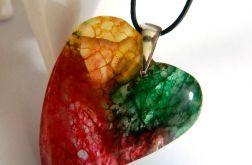 Duże, kolorowe serce, agat mszysty, wisiorek