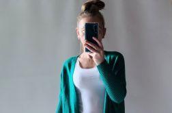 Sweter oversize z kieszeniami ciemny turkus