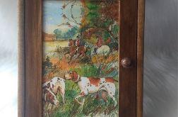 szafka na klucze ze scenką rodzajową z polowania