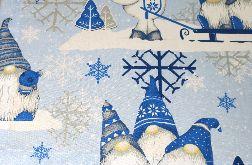 Obrus świąteczny na stolik, ławę- Skrzaty 140 cm/ 93 cm. 100 % bawełna!