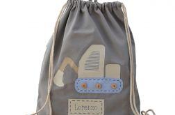 plecak worek koparka z imieniem do przedszkol