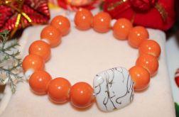 Bransoletka pomarańczowo biała