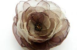 Broszka kwiat - brązy 10 cm