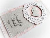 Zaproszenia ślubne w różu i szarości - wzór