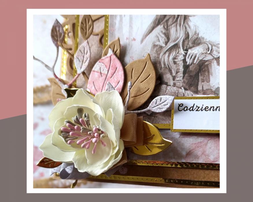 Kartka Bajka wz 2 urodziny - kartka kwiat z foamiranu