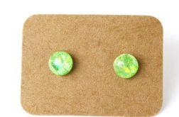 Małe koczyki sztyfty zielone
