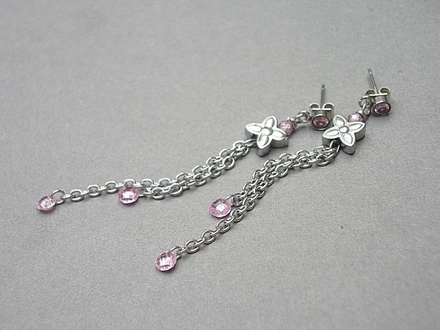 ALLOYS COLLECTION /cyrkonie/ floral pink -