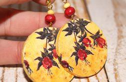 Kwiaty jesieni - florystyczne kolczyki decoupage.