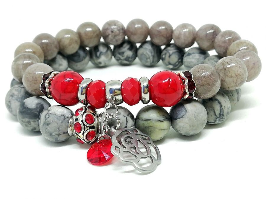 RED ROSE - SET bransoletki z kamieni