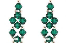 Kolczyki Swarovski długie zielone szmaragd