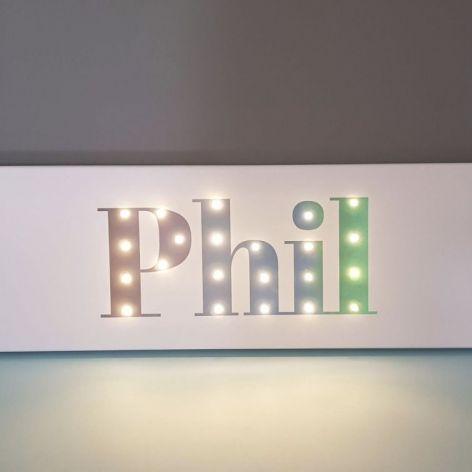 Personalizowany obraz LED - szary/turkus