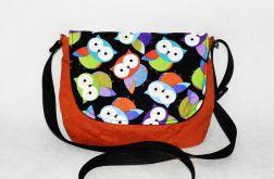 Kolorowa  młodzieżowa torebka z sowami