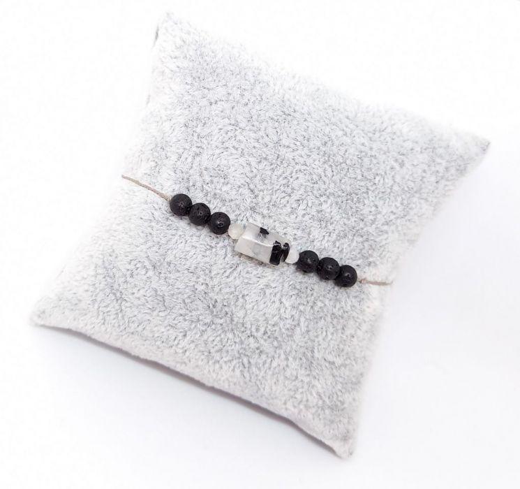 Kryształ górski z turmalinem jedwabna nitka - Bransoletka z kamieniami naturalnymi na jedwabnej nitce