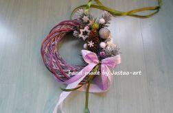 Świąteczny wianek, stroik 20cm - fiolet
