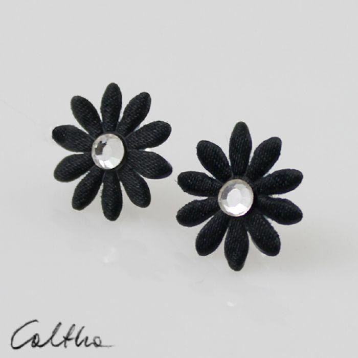 Kwiatuszki z brylantem - kolczyki