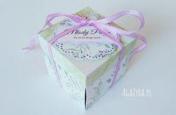Pudełko exploding box ślub zieleń-wrzos